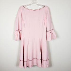 ELIZA J Fit & Flare Bell Sleeve Lace Inset Dress